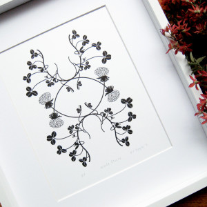 Collected-Patterns-White-Clover-Letterpress-Print-Framed